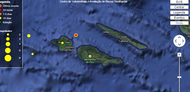 Atividade sísmica no Faial registou mais de meia centena de eventos esta sexta-feira