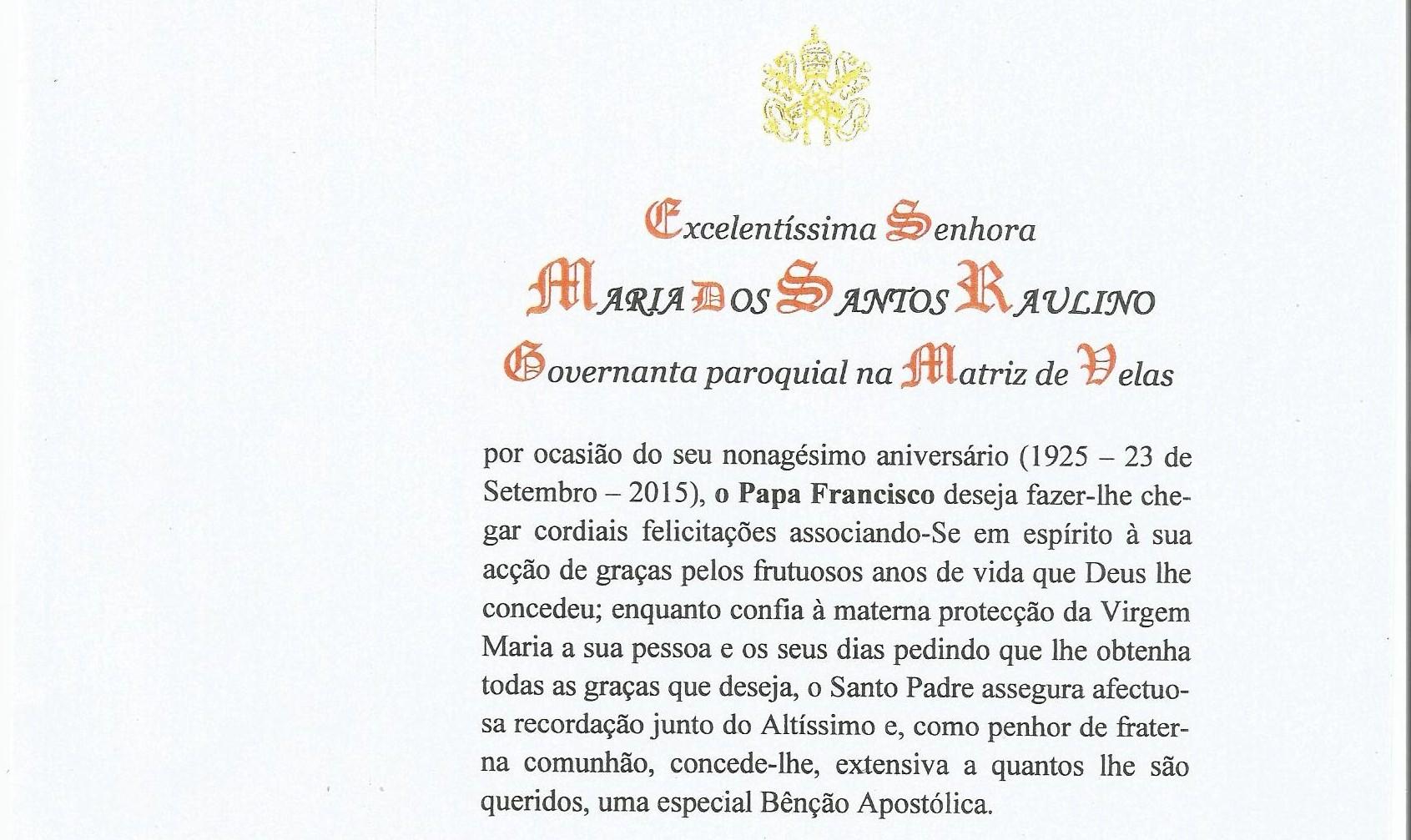 Maria Raulino, Governanta Paroquial, é homenageada com carta do Papa Francisco nos seus 90 anos (c/áudio)