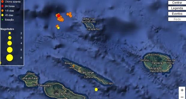 Atividade sísmica na Graciosa com 61 eventos registados