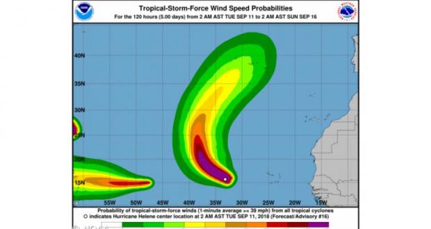 Proteção Civil alerta que furacão Helene pode afetar os Açores a partir de sábado