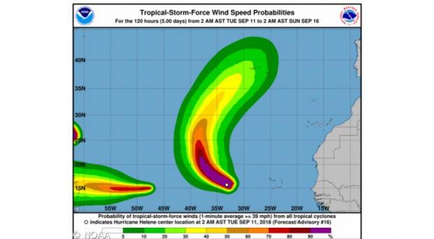 Furacão Helene deverá chegar sábado mas já como Tempestade Tropical