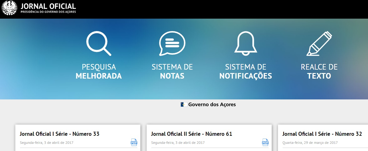 Jornal Oficial da Região Autónoma dos Açores está disponível através de aplicação móvel