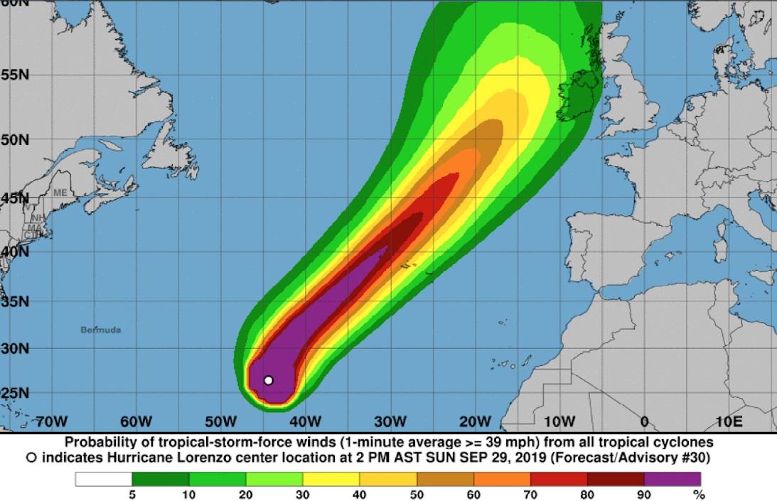 Proteção Civil alerta para agravamento do estado do tempo nos Açores devido à passagem do furacão Lorenzo